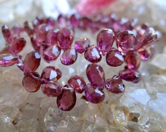 Raspberry Purple Pink Rubelite Pink Tourmaline | Faceted Pear Teardrop Briolettes | 5-7x4.5mm | Sold in Sets of 4 Briolettes