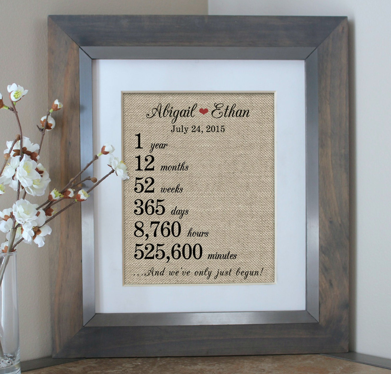 One Year Wedding Anniversary Gifts: 1 Year Together 1st First Anniversary Burlap Print Weeks