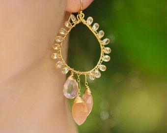 Peach Moonstone Earrings Peach Chandelier Earrings Rose Quartz Earrings Salmon Earrings Peach Earrings Wire Wrapped Peach Gemstone Earrings