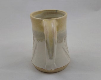 White and Yellow Pottery Mug Wheat Design Handmade by Daisy Friesen
