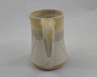 White and Yellow Pottery Mug Wheat Design Handmade by Daisy Friesen