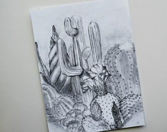 8 x 6 Art Print Cactus Cacti Succulent Hand Drawn Pattern Illustration Desert Drawing, Graphite Pencil Illustration Wall Art Home Decor