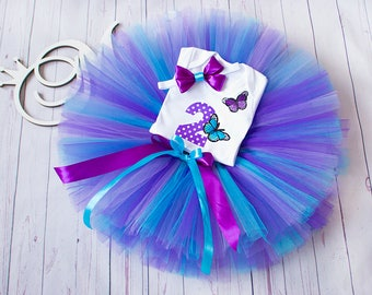 2nd birthday tutu Purple blue Butterfly tutu birthday tutu outfit 1st 2st 3st Birthday tutu outfit Birthday Tutu Set baby tutu from Europe