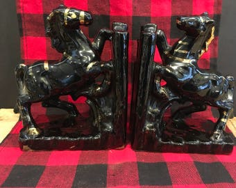 Vintage Horse Bookends , Black Ceramic Horse , Pair , Lipper and Mann Creations , Japan , Gold Color , Equine Decor , Farm , Elegant