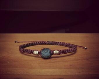 Purple macrame bracelet Sodalite and sterling silver beads