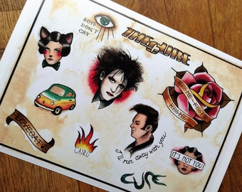 Tattoo Flash print The Cure Robert Smith Simon Gallup A4