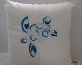 Turtle Pillow Cover | Sunbrella Indoor Outdoor Pillow Cover | Beach Pillow | Embroidered Turtle Pillow Cover | Coastal Pillow Cover| Turtles