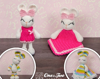 Combo Pack - Olivia the Bunny Lovey and Amigurumi Set for 7.99 Dollars - PDF Crochet Pattern - Instant Download - Special Offer Pack