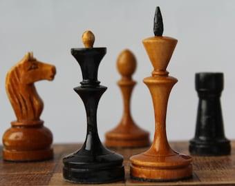 Soviet chess set, vintage chess set, wooden chess set USSR.