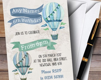 Vintage Watercolour Boys Hot Hair Balloon Children's Birthday Party Invitations