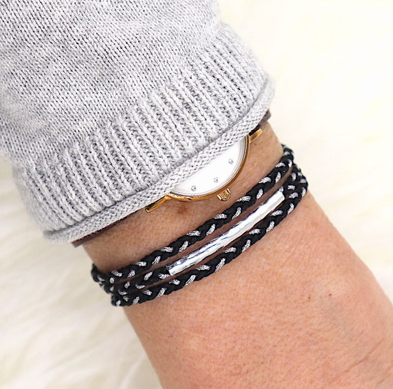 beaded cord braided triple towers 925 sterling silver band