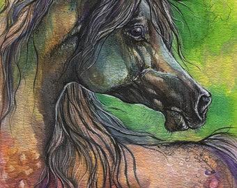 Arabian horse in rainbow spectrum, equine art, horse portrait, equestrian, hand painted print