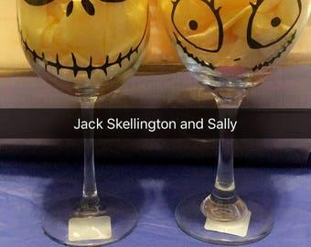 Jack Skellington and Sally wine glass set