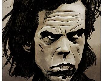 Nick Cave portrait - A4 colour art print