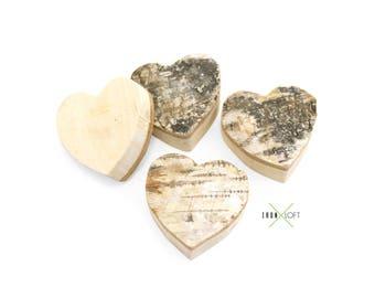 Bark Wood Hearts 4 Pack