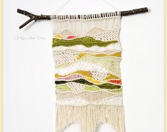 """Prairie"" weaving and macrame wall hanging"