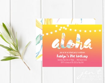 Tropical Luau Invitations - Aloha / Tropical Party / Summer Party / Birthday Party