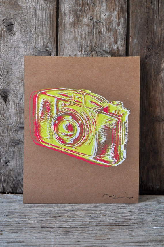 Camera #24, hand pulled silkscreen print, Boyer camera, 8 x 10 inches, open edition.