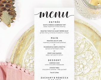Boho wedding menu template, Wedding menu idea, Boho menu card, Menu template wedding, Wedding dinner menu template, Editable wedding menu