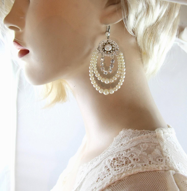 Bridal pearl chandelier earrings silver rhinestone wedding zoom arubaitofo Gallery