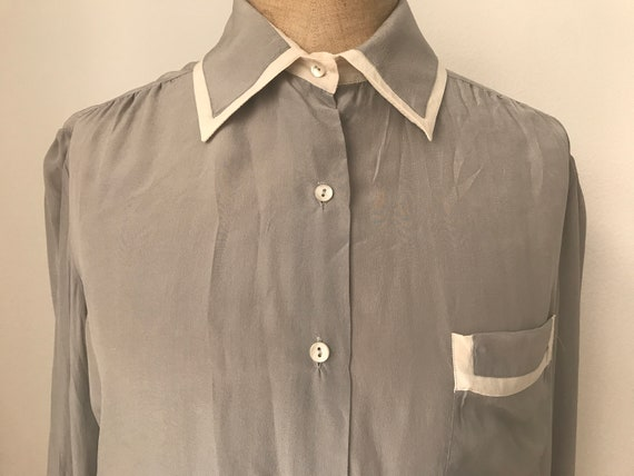 Vintage Serge Nancel blouse | Silk blouse | Grey silk blouse  | Vintage grey blouse | French designer blouse | Vintage silk top |