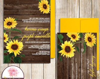 Sunflower Wedding Invitation with RSVP
