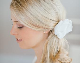silkflower headpiece bride