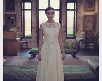 Ava - Lace and Georgette Bridal Gown