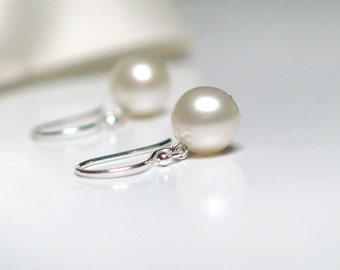 Classic Pearl Earrings | 7mm Warm White Freshwater Pearls | Sterling Silver | Small Dangles | Birthday Gift | Wedding | Everyday Pearl Drops