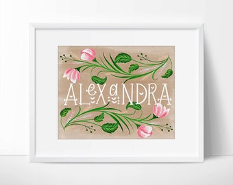 Custom Handwritten Name Floral Brown Pink Printable, Custom Name, Custom Name Art, Digital Name Art, Art Printable, Personalized Name.