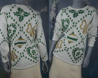 1990s Knit Christmas Sweater, White w Glittering Green & Gold Lurex Thread (Holly, Ornaments, Hearts, Bows), Made in USA: 14/16 US, 18/20 UK