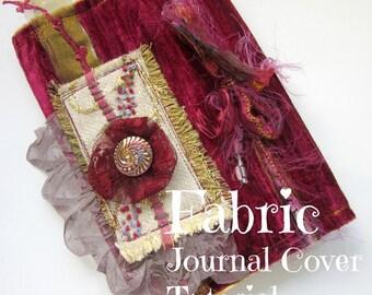 Fabric Journal Cover Tutorial - Craft Tutorial - PDF - Book Slip Cover Pattern