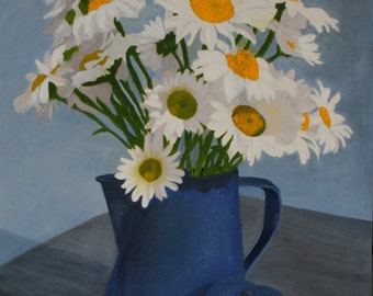 Daisy Painting - Still Life Painting - Floral Still Life - Original Oil Painting - Flower Oil Painting - Floral Painting - White Daisy - Oil