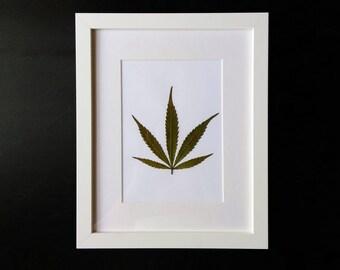 "Cannabis Leaf in White Frame (8"" x 10"")"