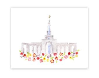 LDS Sacramento California Temple Print - Giclee - Watercolor - gold foil - unframed