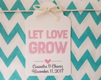 Wedding Gift Tags - Let Love Grow - Bridal Shower Favor Tags - Customizable Personalized - White (WT1813)
