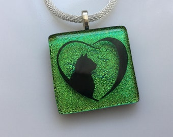 Cat Necklace, Dichroic Glass Cat Pendant, Fused Glass Jewelry, Cat Heart Necklace