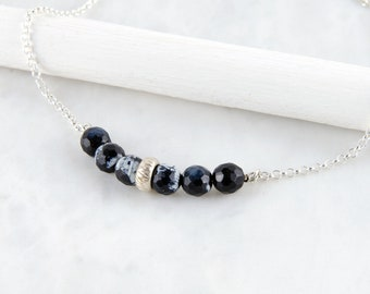 Black Agate Bar Necklace, Black Stone Necklace, Sterling Silver Gemstone Bar Necklace, Beaded Bar Necklace, Layering Necklace, Gift for Her