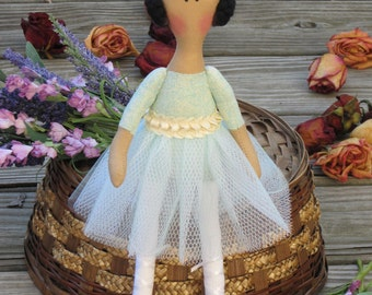 Ballerina doll, Princess doll, rag doll, handmade doll dark hair cloth doll teal mint cream stuffed doll softie, rag doll ballet dancer