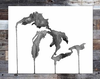 Great Lakes Black & White art print, Great Lakes watercolor, Great Lakes map, Michigan, Michigan art, Watercolor State, Painting, TheBigLake