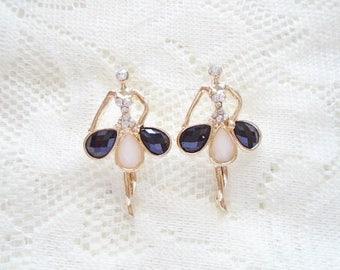 Ballerina Stud earring, Gold plated & Crystal earring