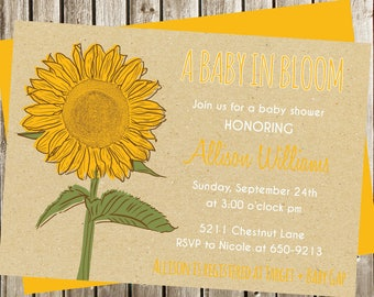 Sunflower Baby Shower Invitation, Digital Invitation, Sunflower Invitation, Sunflower