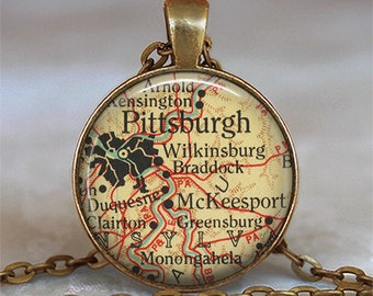 Pittsburgh map necklace, Pittsburgh necklace map jewelry McKeesport Pennsylvania Wilkinsburg map pendant key chain key ring key fob