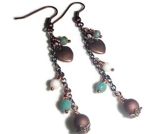 Long Chain Boho Earrings Heart Chain Earrings S14