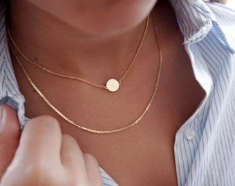 Delicate Thin Chain Necklace Layering everyday Gold necklace 24k Gold Plated or Silver jewelry.