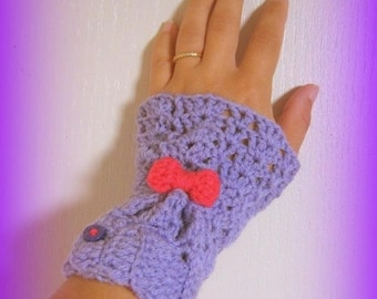X 2 bow Pink Purple wrist warmers crochet hand made in France