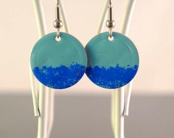 turquoise & blue small circle enamel earrings