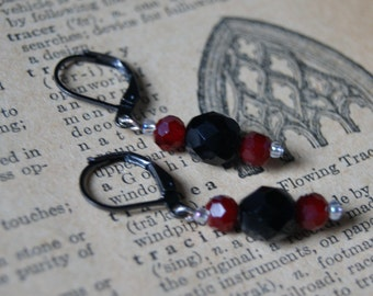 Black and Red Column Earrings