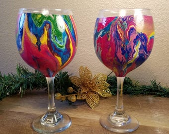 Hand painted wine goblet pair
