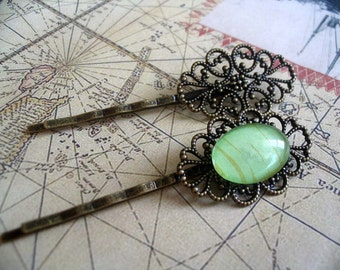 10 Antique Brass Filigree Hair Pins. Great for cabochons, or glass tiles